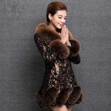 2015 New Winter Leather Jacket Women Plus Size Long Section Of Sheep Skin Fox Fur Coat(China (Mainland))