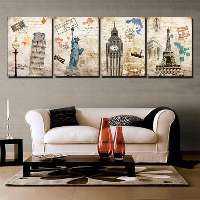 4 piece free shipping hot sell modern wall painting for Sell art prints online