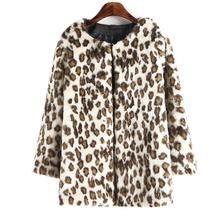 Women warm faux fur coats three quarter sleeve leopard outerwear casaco feminine European casual winter tops CT1149(China (Mainland))