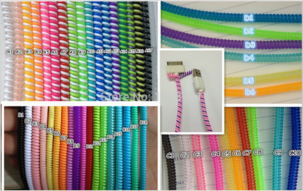 Free shiping 5pc/lot plastic spiral cord protector 50cm cable winder for phone USB computer charger earphone wire cord protector(China (Mainland))