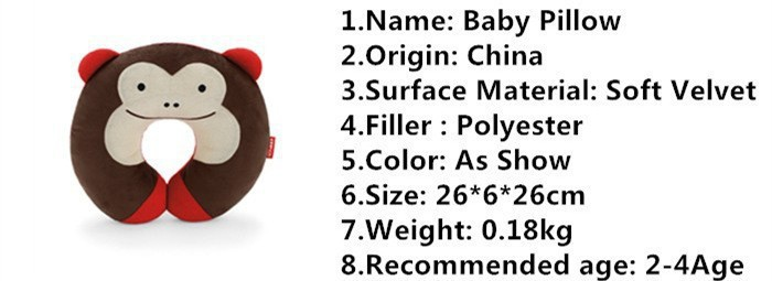 2015 Kawaii Baby Pillow Multi-Animals Design Plush Super Soft Kids Headrest Kids Pillow Neck Protector Travel Toys for 0-4 Years