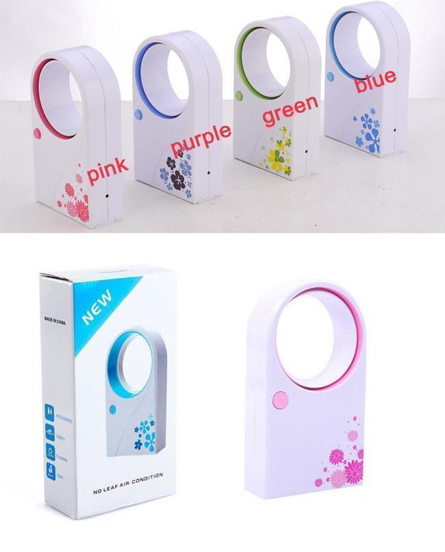 hpt sale 72pcs/lots Mini Bladeless fan, delicate packing Hold USB no leaf air-condition, mix color shipment(China (Mainland))