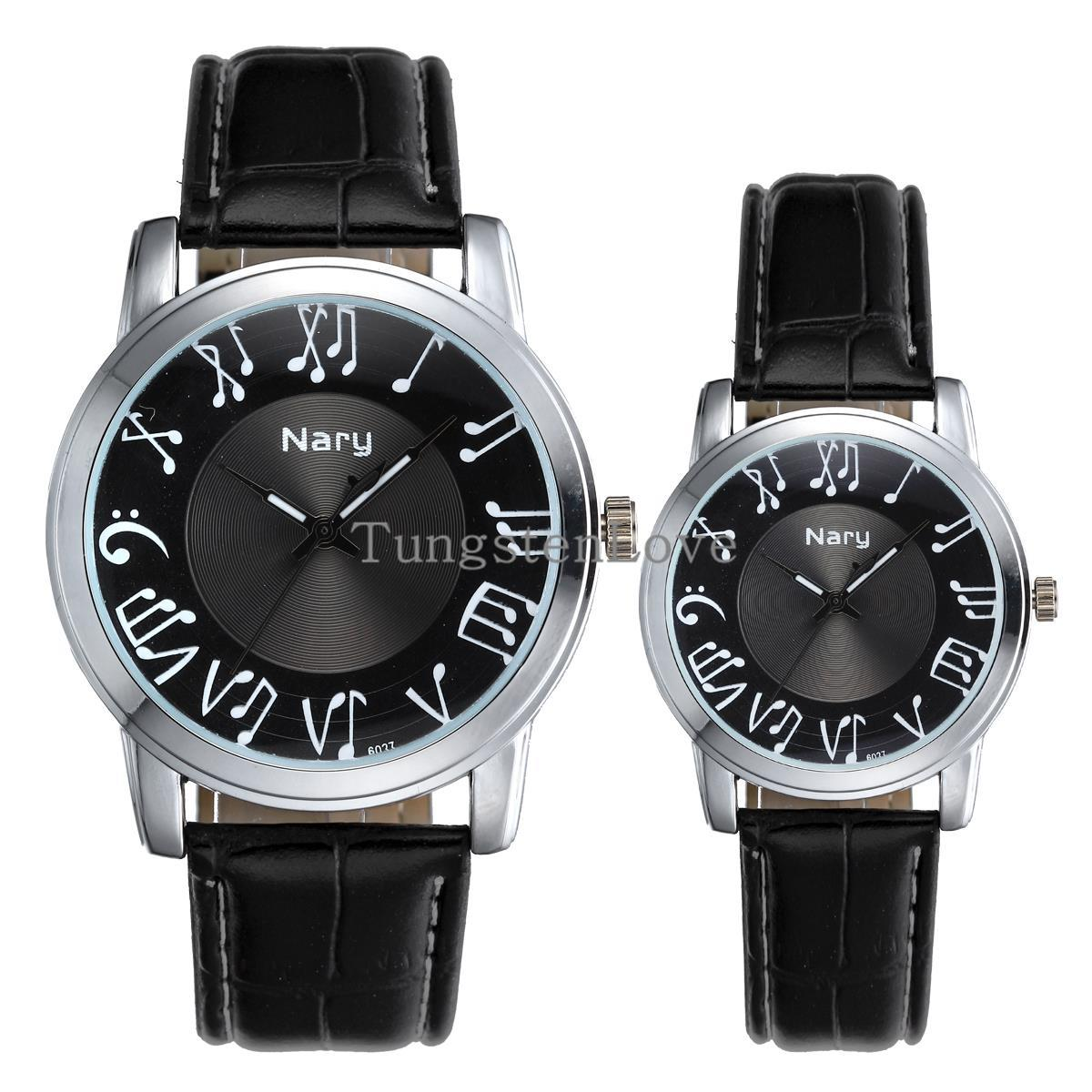 1 piece 2015 Lovers Fashion Mens Ladies Black Earl Music Notes Couples Wrist Watches PU Leather Wristwatch for men women gifts(China (Mainland))