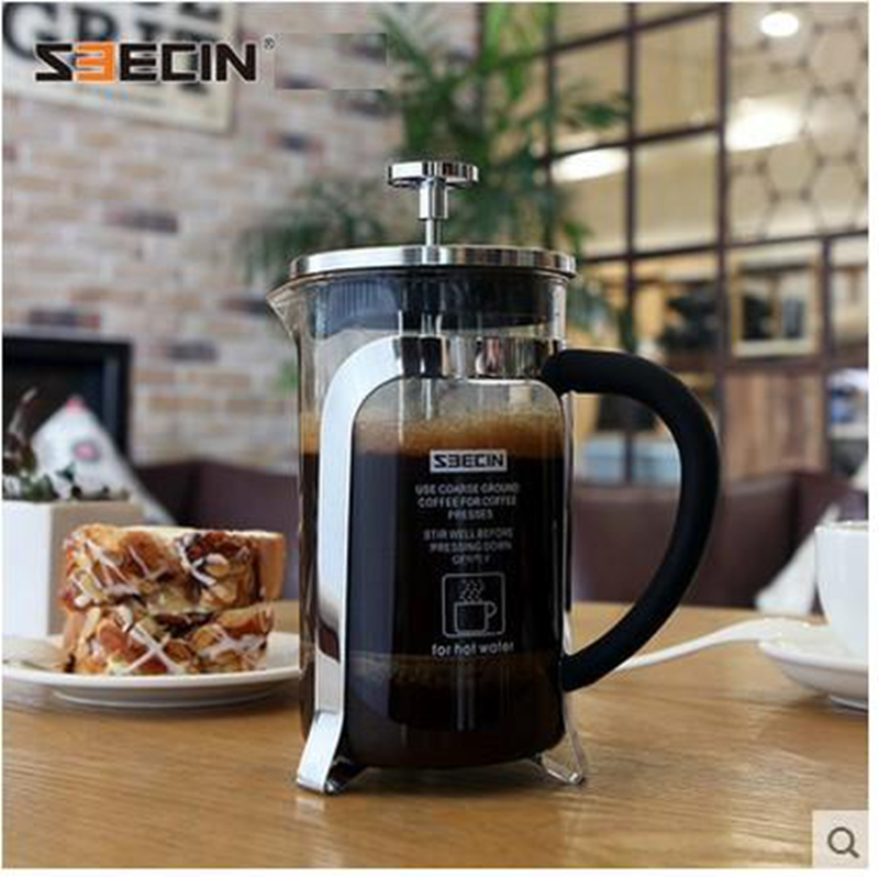 free shipping glass pressure pot stainless steel french press coffee pot coffee filter coffee pot household tea maker(China (Mainland))