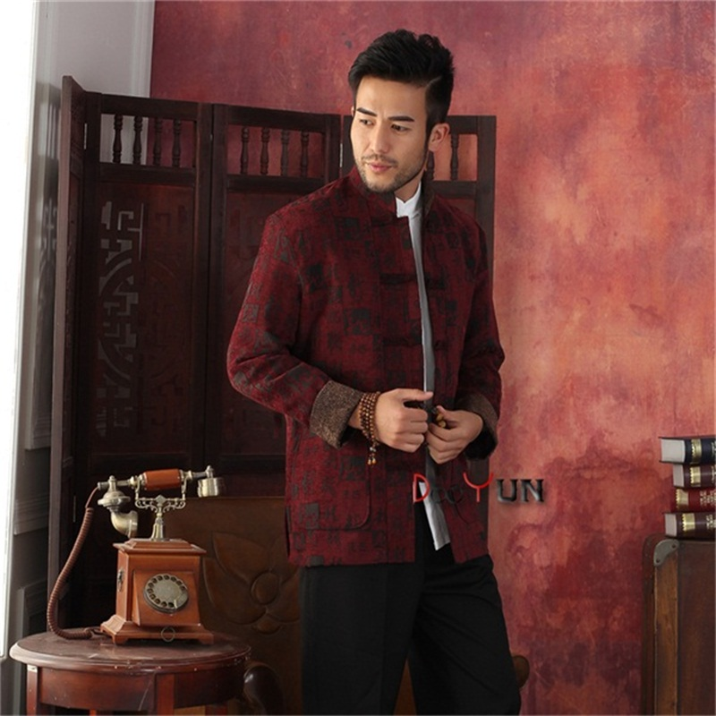 Hot Selling Burgundy Chinese Tradition Mens Kung Fu Jacket Corduroy Embroider Dragon Coat Tang Suit S M L XL XXL XXXLОдежда и ак�е��уары<br><br><br>Aliexpress