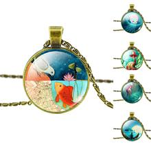 Fashion Bronze Pendant Necklace Vintage Fairy Marine Organisms Statement Chain Necklace Classic Jellyfish Necklace in Jewelry