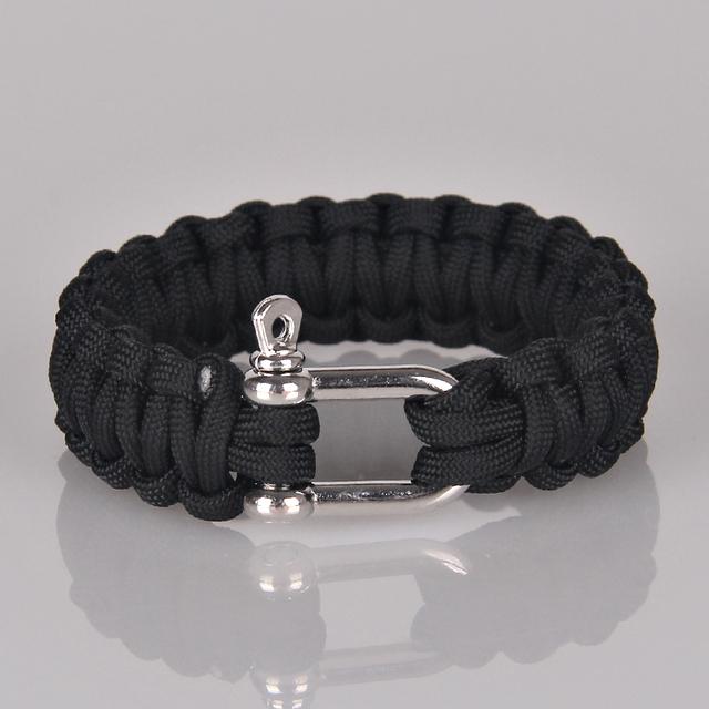 Посеребренные сейфом военного выживания браслет аварийного спорт отдых веревка браслеты ...