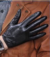 100% Sheep Skin Touch Screen Men Gloves Classic Style Pure Genuine Leather Gloves For Winter Men's Smart Phone Gloves(China (Mainland))