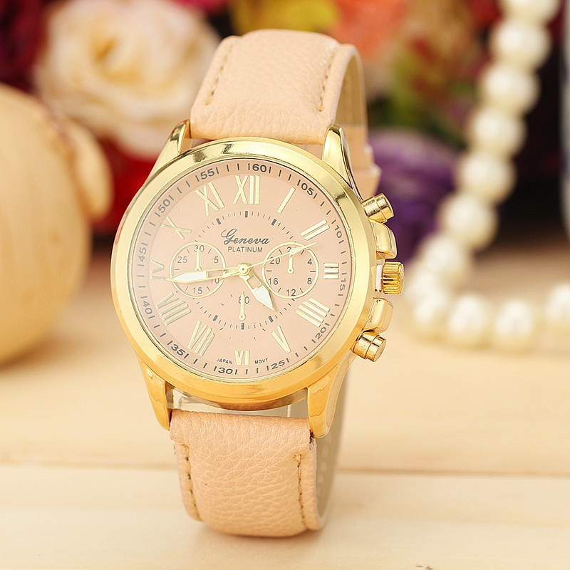 wristwatches new casual ladies Quartz Watch fashion 2015 women gold plated watches leather woman luxury brand famous relogio(China (Mainland))
