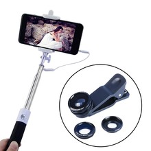 Buy Extendable Monopod wire cable Selfie Stick take photos+ 3in1 Clip Fish Eye Lens Wide Angle Macro Mobile Phone Lens HLS-96CX3 for $11.39 in AliExpress store