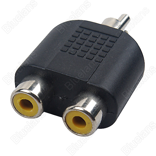 One piece Multi-Interface RCA Male to 2 RCA Female Y Splitter Audio Adapter