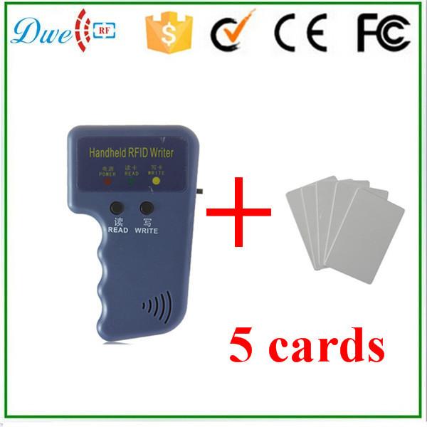 Handheld ID Cards 125KHz RFID Copier Reader Writer Duplicator +  5 x EM4305 keyfobs