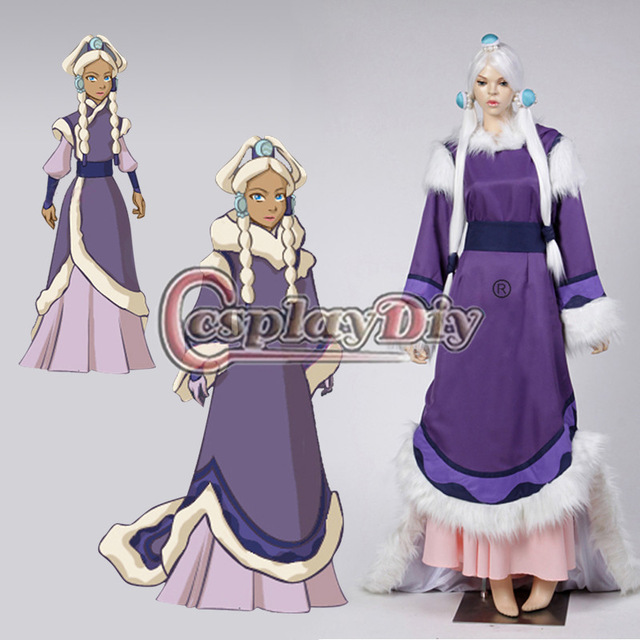 Custom Made Avatar The Last Airbender Costume Adult Princess Yue Halloween Carnival Cosplay Costume D0406(China (Mainland))