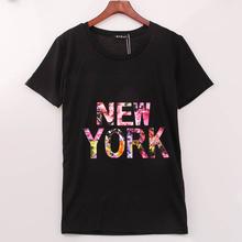2016 Rock Fashion T Shirt Women NEW YORK Printed Printing T-shirt Women Summer Band New Top Tee Shirt Femme Plus Size YB