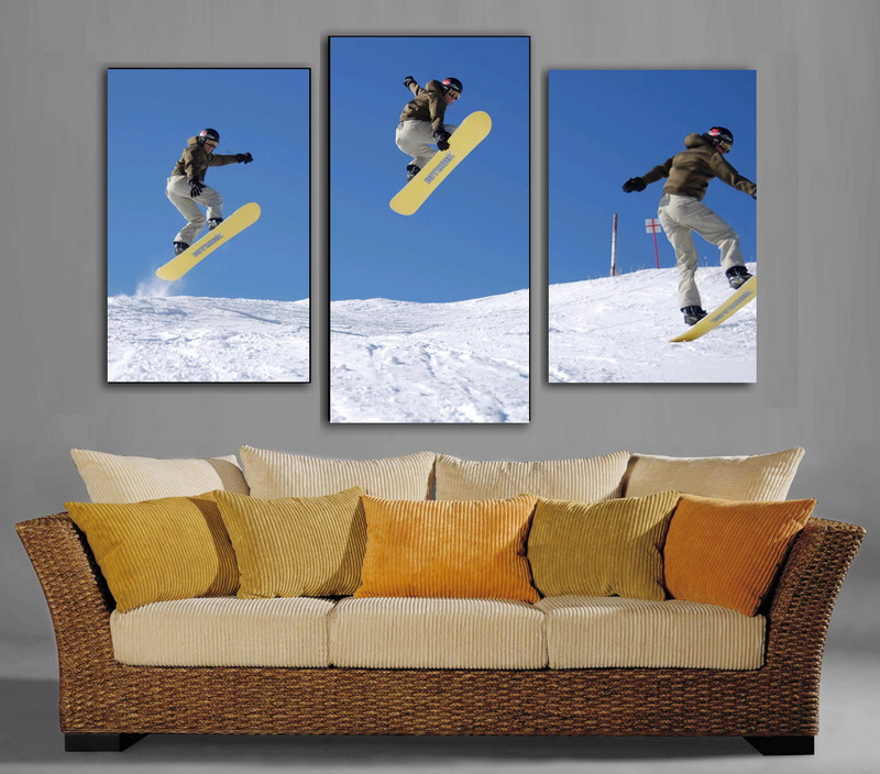 3 pieces Modern painting pictures three men Snowboarding on oil painting canvas for home decor and wall art poster, gallery(China (Mainland))