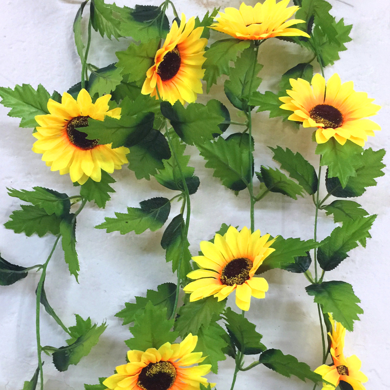 240cm Fake Silk Sunflower Ivy Vine Artificial Flowers With Green Leaves Hanging Garland Garden Fences Home Wedding Decoration(China (Mainland))