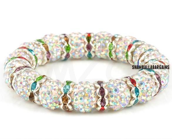 Free Shipping !Vintage!Big Promotion! Spacer Metal 10mm Well Crystal Beads Shamballa Bracelet.Wonderful New Style Crystal .(China (Mainland))