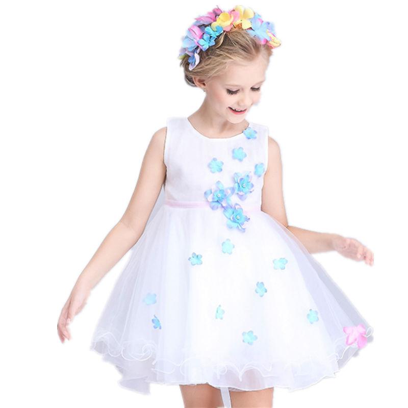 New Arrival summer style Cotton children's clothing girls floralsleeveless dress flower girl dress ball gown princess dresses(China (Mainland))
