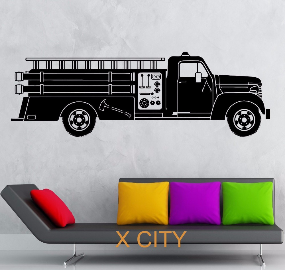 Fire Truck Rescuers Transport Children Bedroom Wall Art Decal Sticker Removable Vinyl Transfer Stencil Mural Home Decor(China (Mainland))