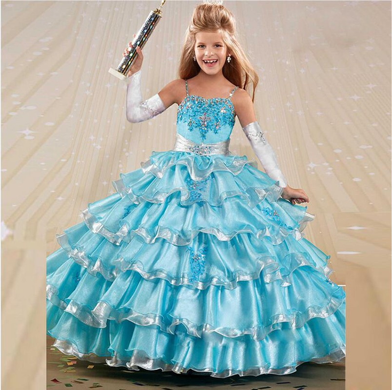 2016 Free Shipping Beauty White Blue Ball Gown Little Girls Pageant Dresses Appliques Beads Organza Flower Girl Dress VB101(China (Mainland))