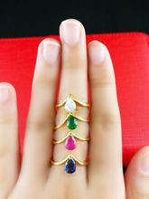 Wholesale New Arrival Fashion Jewelry Blue / green / pink / white inlaid jade 24K Gold Ring Women Jewelry, Free Shipping D016(China (Mainland))