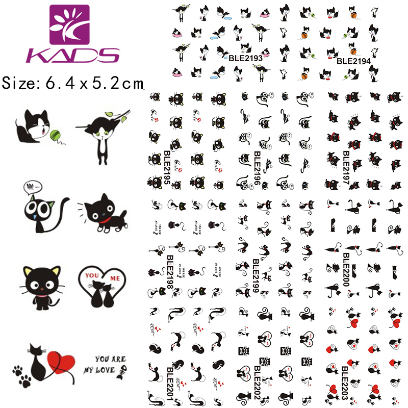 11Sheet/lot BLE2193-2203 Black Cat design Water decal Nail Sticker For nail water transfer nail decals for Sticker Decals(China (Mainland))