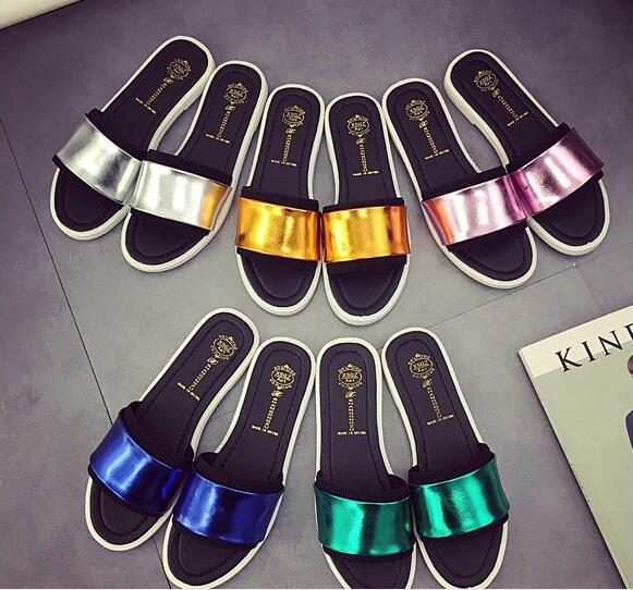 2016 summer women slippers candy color jelly shoes woman leather sandals anti-slip flats shoes beach shoes lady flip-flops D014(China (Mainland))