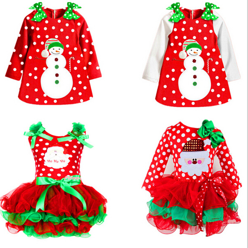 New Year Red Infant Girl Dress Christmas Santa Snowman Costume Festival Ball Party Tutu Dress For Children Girl Clothing 2-6 Yrs(China (Mainland))