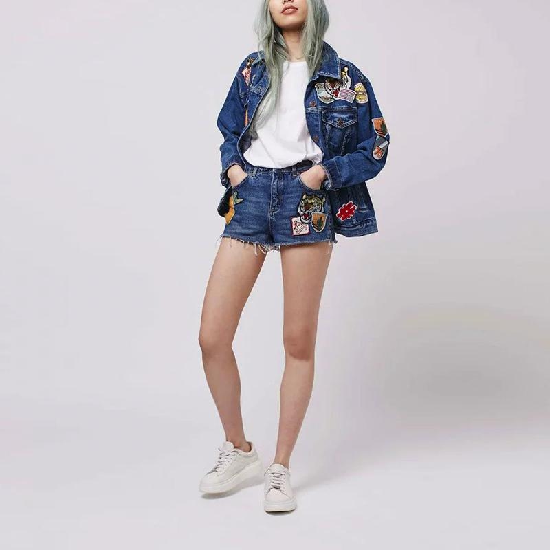 2016 mujeres Appliques Button Fly bordado dos bolsillos traseros de la borla del vaquero corta ocasional pantalones femeninos MA8227-0520(China (Mainland))