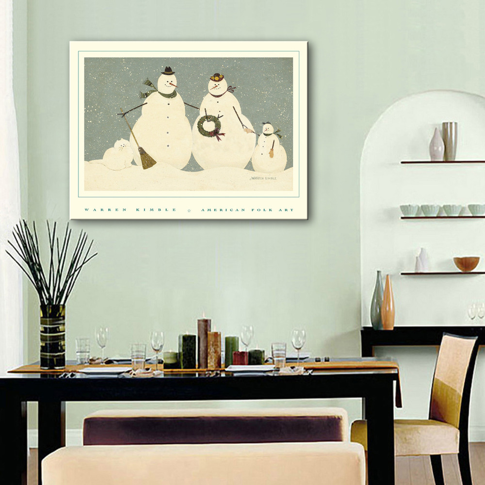 Free Shipping E-HOME Oil Painting Snowman Decoration Paiting Home Decor On Canvas Modern Wall Prints One Pcs(China (Mainland))