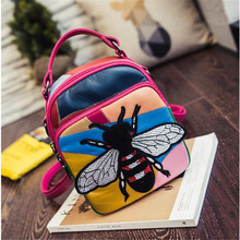 2016 New hit color women genuine leather shoulder bag cute street fashion women bag multi-use backpack sheepskin trave bag(China (Mainland))