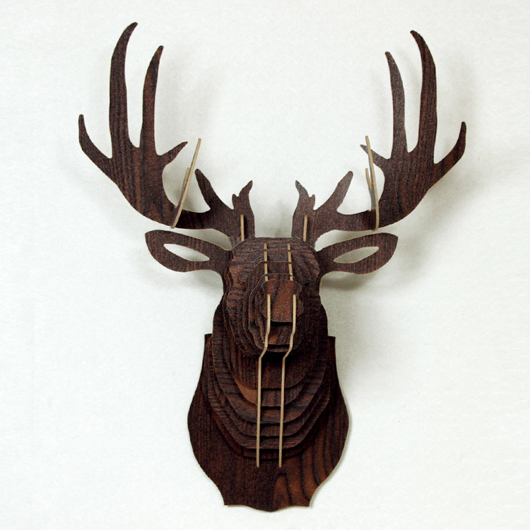 55cm milu deer head home decorative wall decor wood craft for Animal head wall decoration