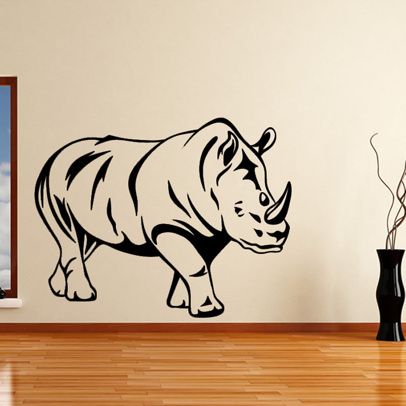 High Quality Rhinoceros Wall Decor Sticker Black Printed Hollow Out Animal Wall Decal Vinyl Removable Living Room Decoration(China (Mainland))