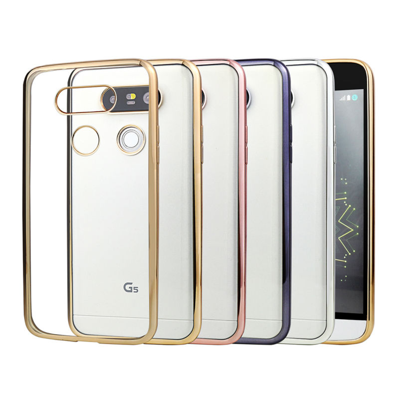 Silicone Case For LG G5 G4 K5 K10 Cover Transparent Plating Gold Ultra Thin Soft Clear Back Cover For LG G5 K10 K5 G4 Coque(China (Mainland))