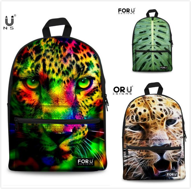 New Brand 2015 Mens Backpack 3D Animal Printing Backpacks Leopard School Bag For Kids Cool Tiger Head Backpacks Free shipping(China (Mainland))