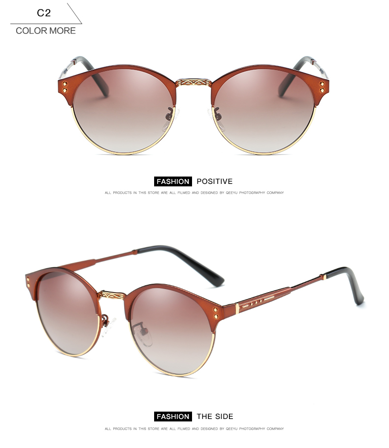 New 2017 French designer Global bestseller round style lady retro metal trend Sunglasses Polarized driving, outdoor glasses