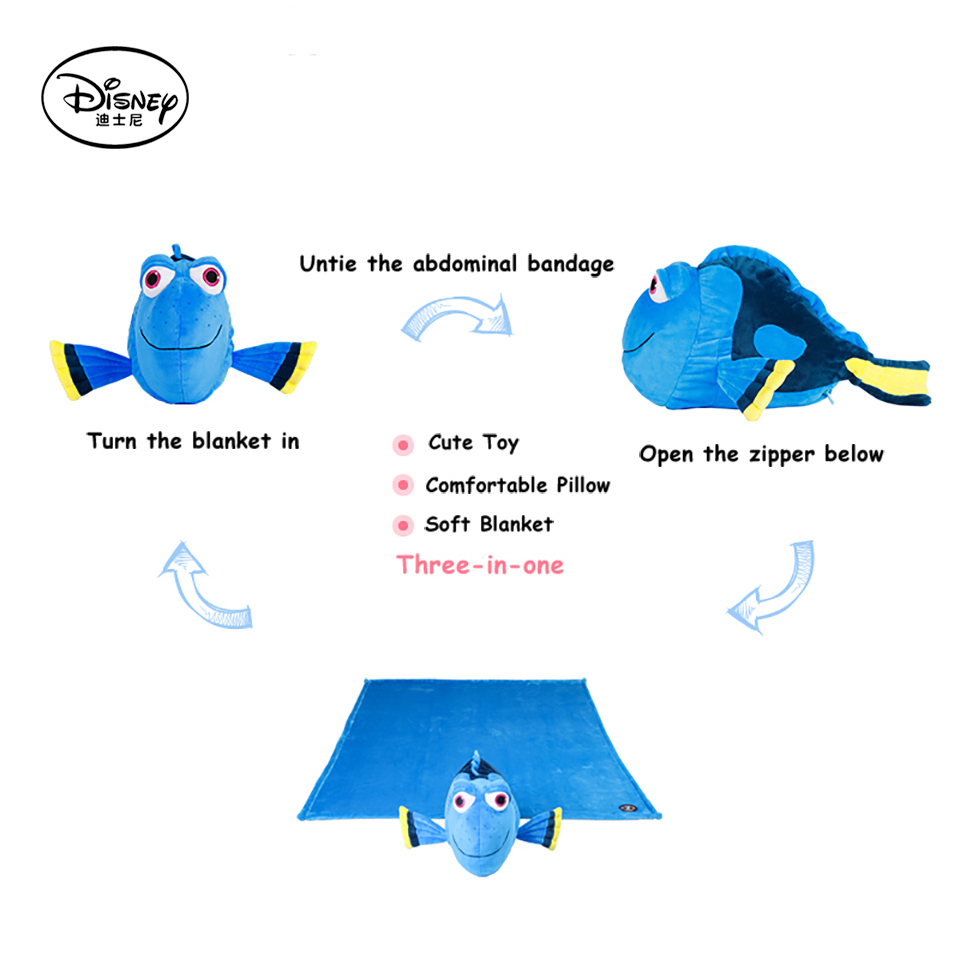 Disney Dory Fish Plush Stuffed Doll Toy Pillow Cushion With Portable Rest Warm Blanket For Children Cartoon Toys Juguetes(China (Mainland))