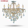 2016 Top Fasion TIffany Candle K9 Crystal Light Chandelier Lamp Lighting For Living Room Lights Foyer