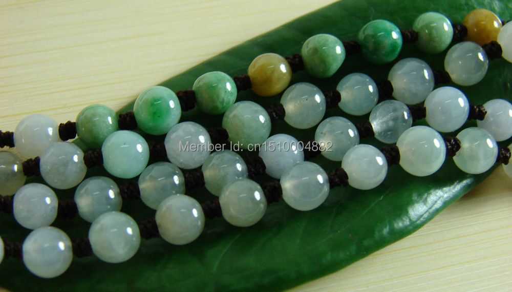 shitou 00565 Beautiful Icy 3 Colors Beads Necklace Natural Grade A Jade Jadeite Pendant<br><br>Aliexpress