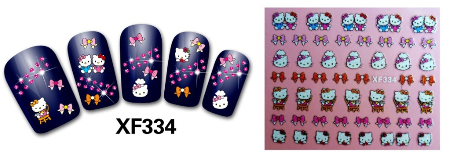 24pcs/lot 3D Design Tip Nail Art Sticker Decal Manicure Cute KT nail stickers Free Shipping Wholesale,XF334(China (Mainland))