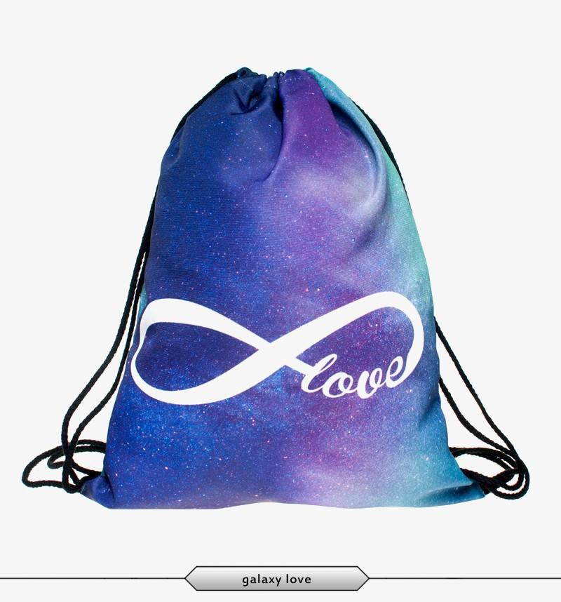 2015 New Fashion Escolar Backpack 3D Shopping Bags Softback Women Mochila Feminina Harajuku Drawstring Bag Mens