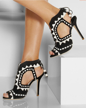 Sophia Webster sexy open toe lace-up sandals 2015 fashion beaded heels beautiful sandals high quality black colors sandals