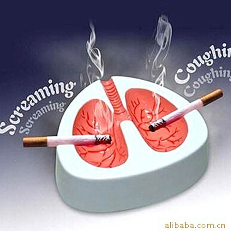 1 PC 4.5*12*13cm Ashtray Lung Shape Cough Scream Sound Quit Smoke Stop Smoking Cigarette Ashes Home Ash Tray(China (Mainland))