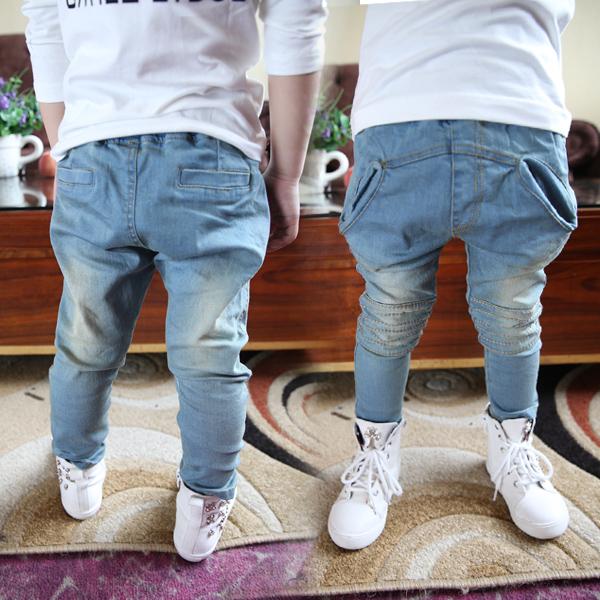 Spring 2014 Korean boy pants children blue jeans washing grinding white boy girl cross long pants pants(China (Mainland))