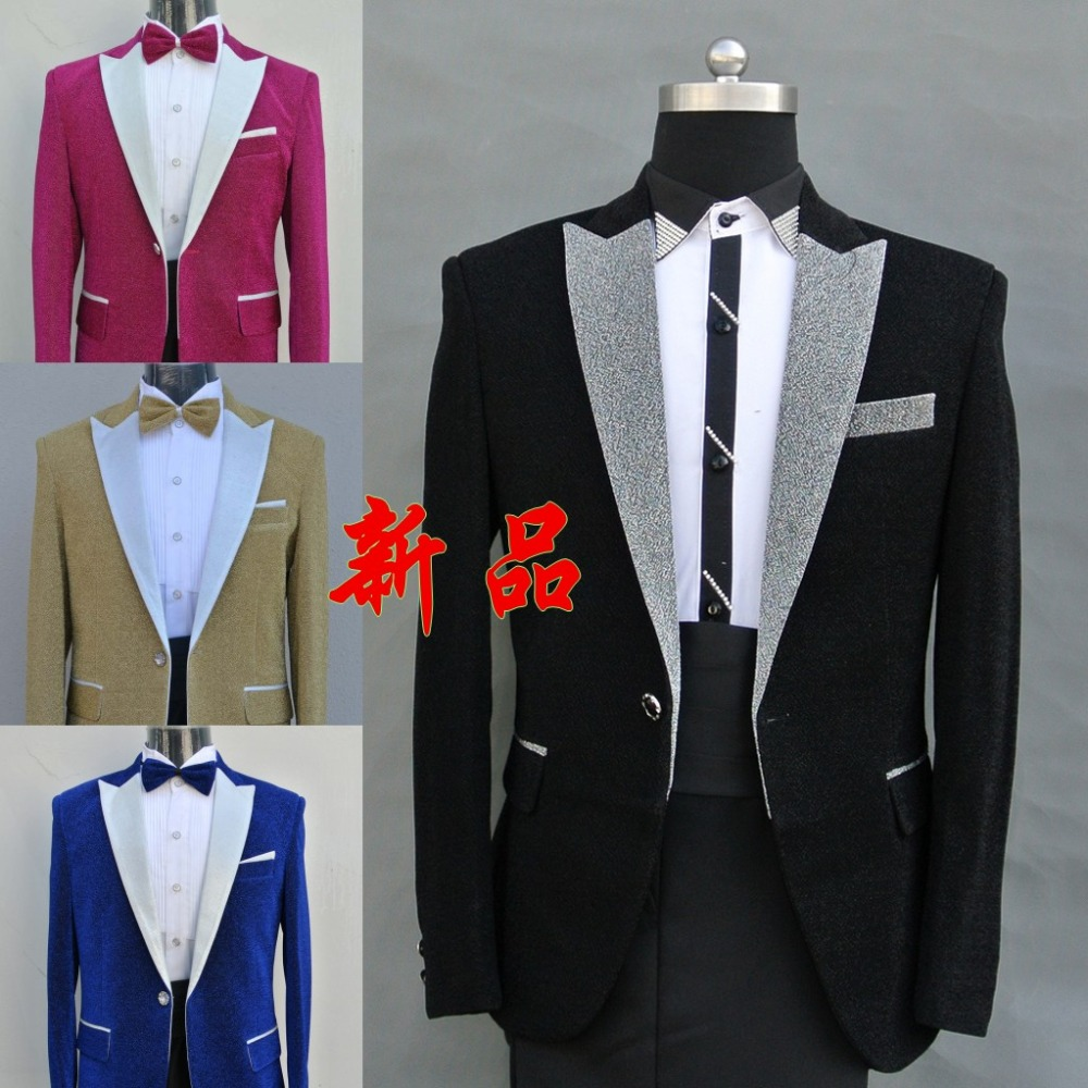 (jacket+pants) blue black yellow red suit male dancer singer the male host male MC dress stage costumes will host men's suits(China (Mainland))