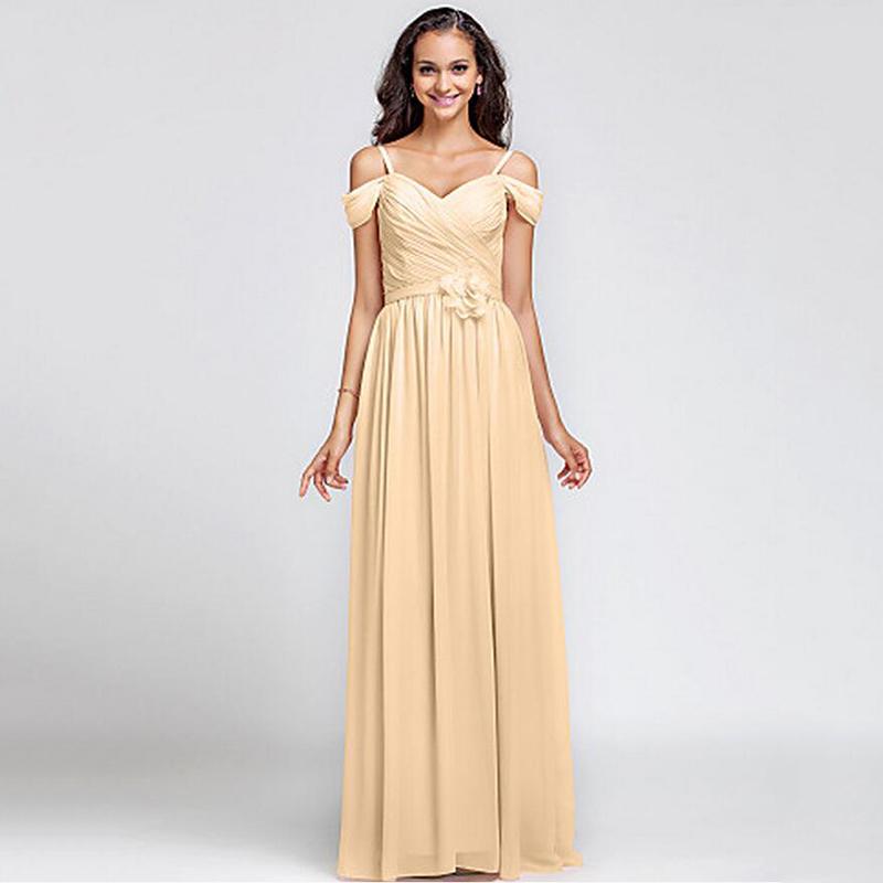 Blush Wedding Dress Petite : Floor length blush pink champagne grape chiffon bridesmaid dress