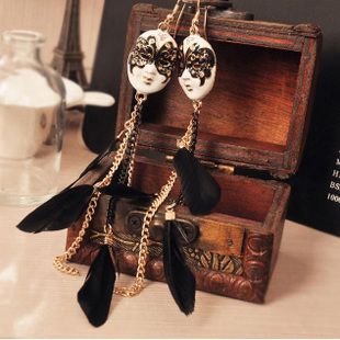 vintage baroque chain feather tassel mask ball improper face extra long earrings for women(mixed $10)free shipping E015(China (Mainland))
