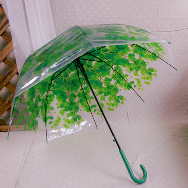 Hot Sale Transparent Umbrella Creative Green Leaves Long Handle Semi-automatic Sunny and Rainy Umbrella for Women Girls(China (Mainland))