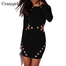 2016 New Fashion Women Rivet Hole Black Bandage Party Dresses Full Sleeve O-neck Sexy Night Club Wear Bodycon Dress(China (Mainland))