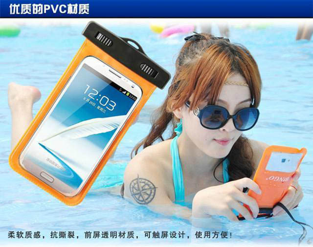 2015 Hot travel Underwater Waterproof Bag touch screen mobile Phone Pouch Dry Case Cover For Samsung Galaxy Note 4 3 2 Note edge(China (Mainland))